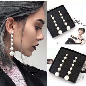 Beautifu lBig Pearl Long Tassel Dangle Earring New